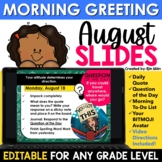 August Morning Message Slides Bitmoji | Writing Prompts |