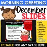 December Morning Message Slides Bitmoji | Writing Prompts | EDITABLE