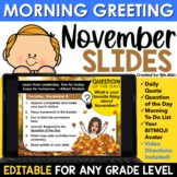 November Morning Message Slides Bitmoji | Writing Prompts|