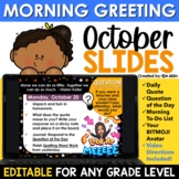 October Morning Message Slides Bitmoji | Writing Prompts |