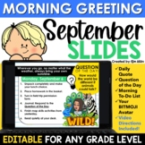 September Morning Message Slides Bitmoji |Writing Prompts