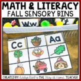 Fall Math and Literacy Sensory Bins