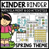 Spring Kindergarten Math and Literacy Activities for Binder