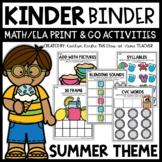 Summer Kindergarten Math and Literacy Activities for Binder