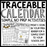 Traceable Monthly Calendars for PreK and Kinder Binder 2020-2021