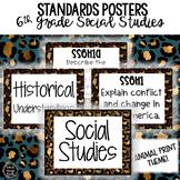 6th Grade Social Studies Standards Posters | Animal Print Theme
