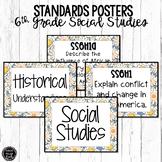 6th Grade Social Studies Standards Posters | Blue Flowers Theme