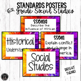 6th Grade Social Studies Standards Posters | Bright Theme