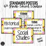 6th Grade Social Studies Standards Posters | Preppy Theme