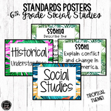 6th Grade Social Studies Standards Posters | Tropical Theme