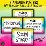 6th Grade Social Studies Standards Posters | Watercolor Theme