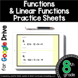 8th Grade Practice Sheets Functions & Linear Functions for