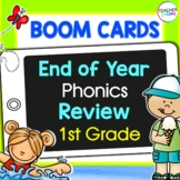 BOOM CARDS SUMMER PHONICS REVIEW BUNDLE for 1st GRADE