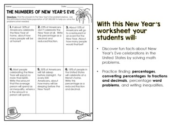 The Math Behind New Year's Eve 2019: Middle School Worksheets