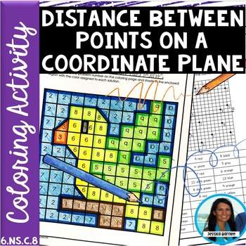 Distance Between Two Points Coloring Page Activity 6.NS.C.8