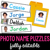 Editable Name Puzzles with Real Photographs