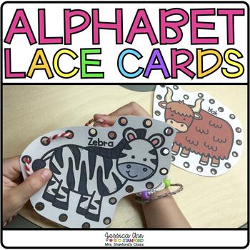 Fine Motor Alphabet Lacing Cards