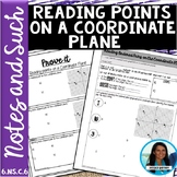 Reading Points on a Coordinate Plane Notes and Such 6.NS.C.6