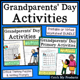 Grandparents Day Activity Worksheets in Print or Easel for