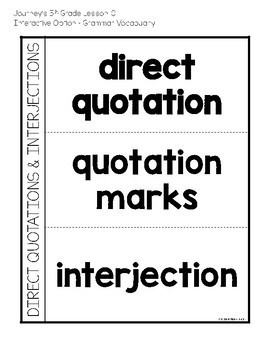 Journeys 5th Grade Lesson 10 Cougars Interactive Notebook Less Cut