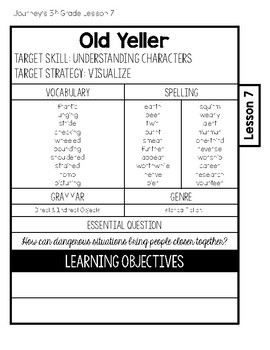 Journeys 5th Grade Lesson 7 Old Yeller Interactive Notebook Less Cut
