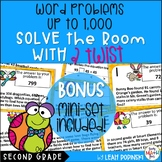 Word Problems 3-Digit-Scavenger Hunt With A Twist! Second Grade