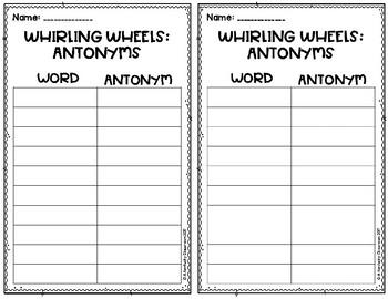 Whirl Wheels: Antonyms Intermediate Edition