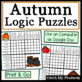 Digital Logic Puzzles for Fall | Print or Google Doc Overlays