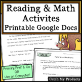 Math Worksheets Plus Reading Comprehension and Grammar Print or Easel