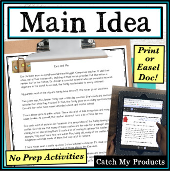 Main Idea Passages for Fourth Grade Worksheets by Catch My ...