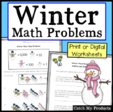 Digital Math Worksheets Google Classroom Winter 2nd Grade or Print