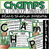 CHAMPS EDITABLE Posters and Clip Chart in Rustic Plant Theme