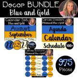 Digital Classroom Decor BUNDLE Whimsical Blue Gold Buttons Banners Calendar Set