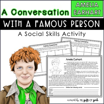 Conversation Skills Speech Therapy   Amelia Earhart Activity