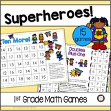 Classroom Decor Theme Superhero Addition, Subtraction, & Place Value Games