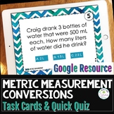 Metric Measurement Conversion Google Task Cards and Quiz Distance Learning