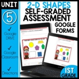 Math Self-Grading Assessments |Distance Learning | 2-D Shapes