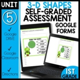 Math Self-Grading Assessments |Distance Learning | 3D Shapes