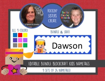 BLOCKCRAFT Kids, 9x3, EDITABLE Name Tags-24 Kids in Each of 9 Colors
