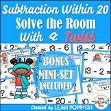 Subtraction Within 20 Task Cards - 1st Grade Math - Math Scavenger Hunt!