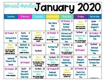 2020 TpT Social Media Content Calendar