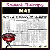 May Speech Therapy Non-Verbal Homework Calendar