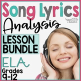 Song Lyrics Analysis Bundle   High School Poetry Lessons