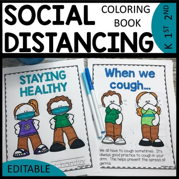 Social Distancing Coloring Book EDITABLE | Classroom Rules Coloring Book