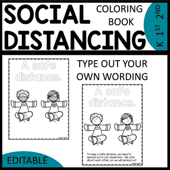 Social Distancing Coloring Book EDITABLE | Classroom Rules Coloring Book
