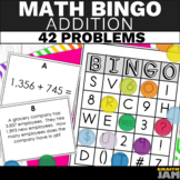 4th Grade Addition Bingo - Addition Math Game - Word Problems and Equations