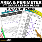 4th Grade Area and Perimeter Lesson Plans with Answer Keys