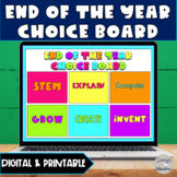 End of the Year Activities | Digital & Print Choice Board