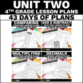 4th Grade Math Lesson Plans Unit Two - Fractions and Decimals