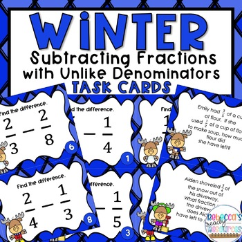 Subtracting Fractions with Unlike Denominators Task Cards Winter Theme